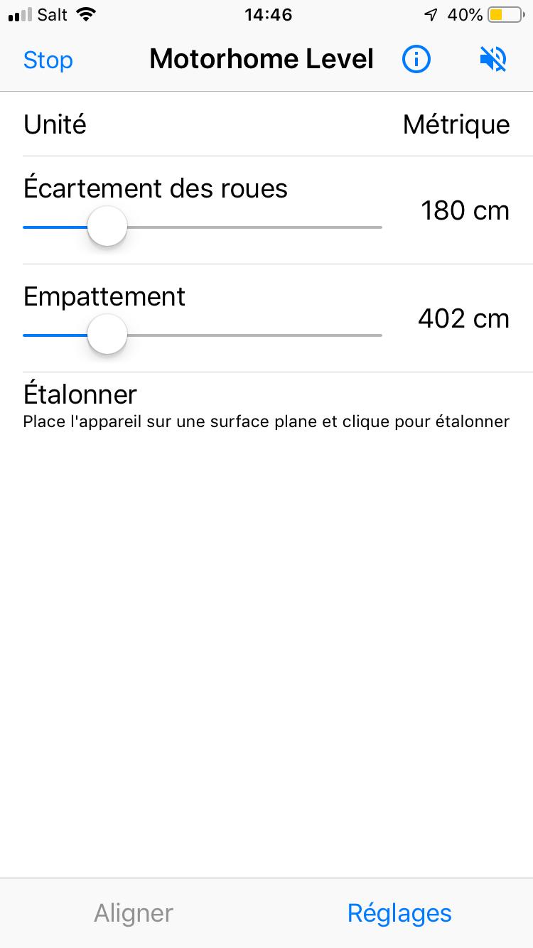 Screenshot of Motorhome Level app settings